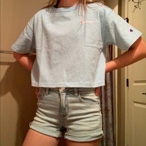Light blue Champion crop top